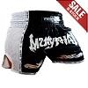 (B-Ware) FIGHTERS - Thaibox Shorts / Elite Pro Muay Thai / Schwarz-Weiss / Large