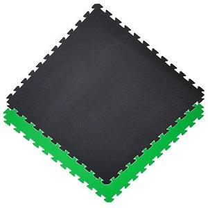 Gym floor mats / 100 x 100 x 2.0 cm / Jigsaw Interlocking MMA Matts / Green-Black